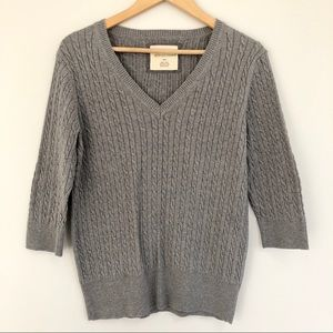 Natural Reflections Gray Cable Knit Elbow Sleeve